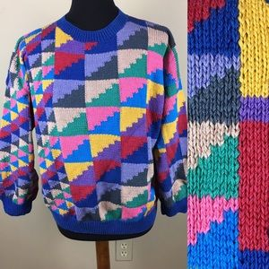 Vintage colorful cotton sweater size L